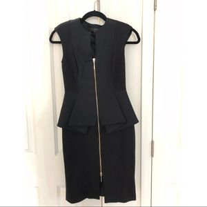 Black Ted Baker Midi Dress with Peplum
